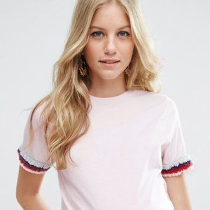 ASOS pale pink t-shirt with fringes